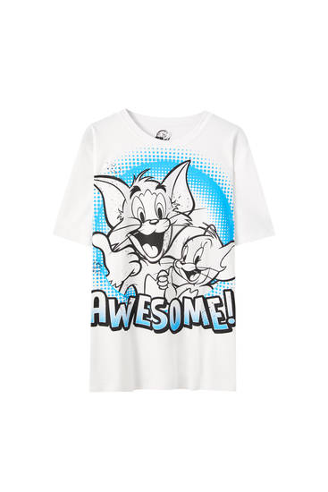 "Hvid T-shirt med Tom & Jerry ""Awesome!"""