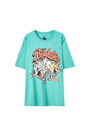 "Green Tom & Jerry ""Best Buddies"" T-shirt"