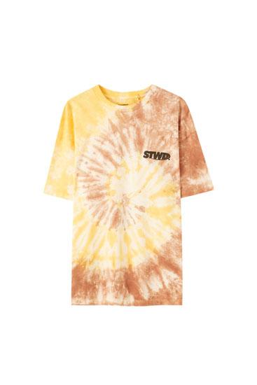 Brown tie-dye T-shirt