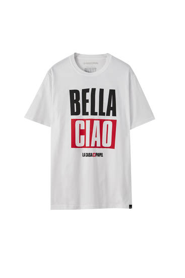 White Money Heist x Pull&Bear Bella Ciao T-shirt