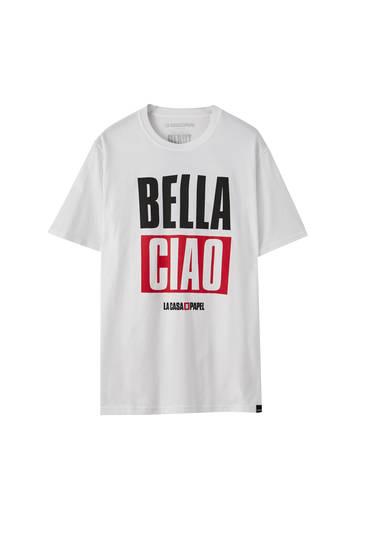 Hvid Papirhuset x Pull&Bear-T-shirt med Bella Ciao