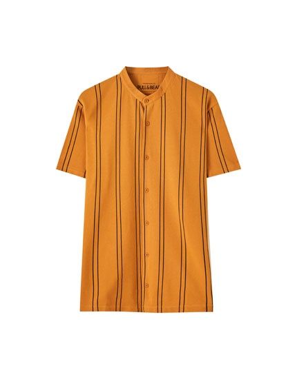 Vertical striped shirt with a stand-up collar