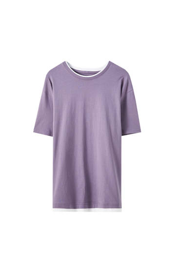 Violet T-shirt with contrasting detail