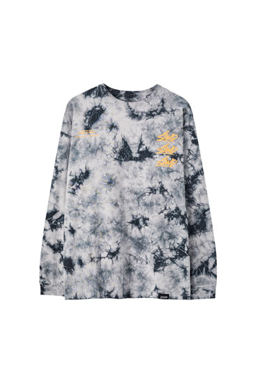 Tie-dye T-shirt with long sleeves