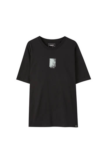Black T-shirt with blue illustration