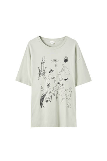 Grey T-shirt with contrast print