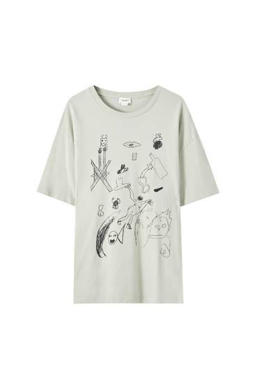 Graues T-Shirt mit kontrastfarbenem Print