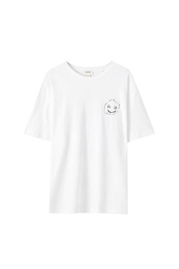 White T-shirt with face illustration