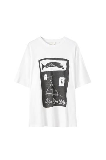 Weißes Shirt mit Fisch-Motiv