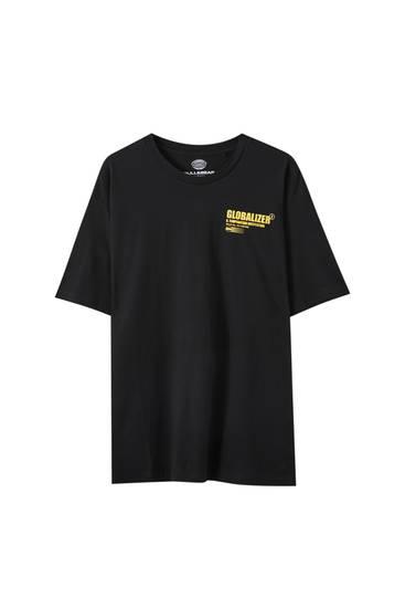 "Black T-shirt with ""Effect"" slogan"