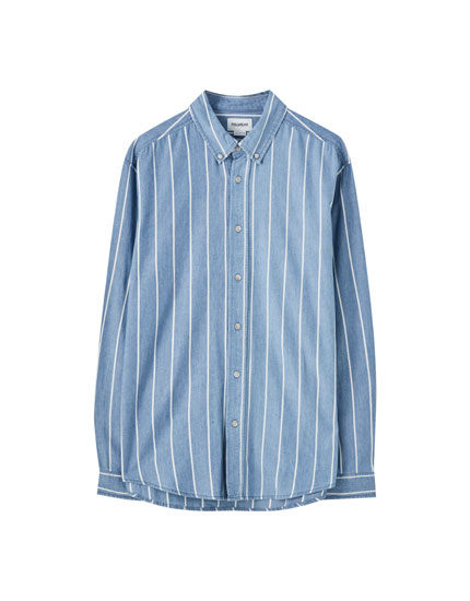 Vertical stripe print shirt