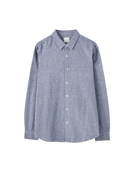 Camisa azul lino cuadros