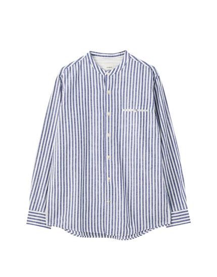 Stripe print linen shirt