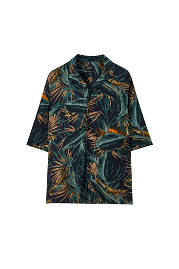 Camisa print tropical viscosa