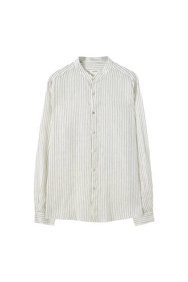 Linnen blouse met maokraag