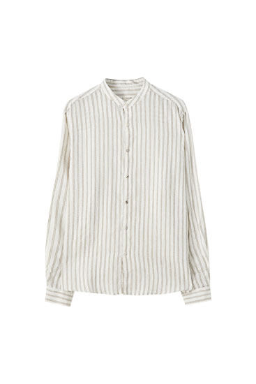 Linen stand-up collar shirt