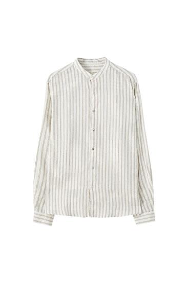 Linen stand-up collar shirt