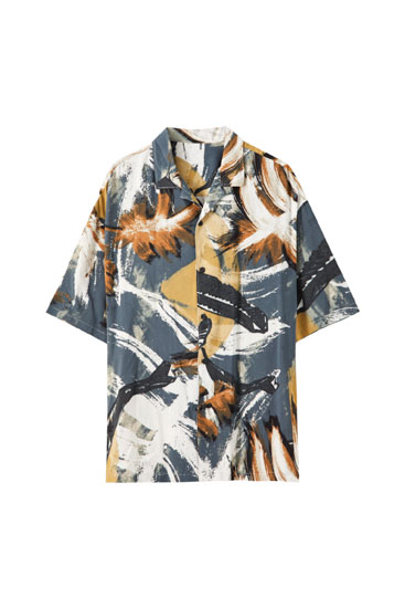 Paintbrush-effect leaf print shirt