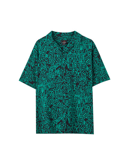 Graffiti print viscose shirt