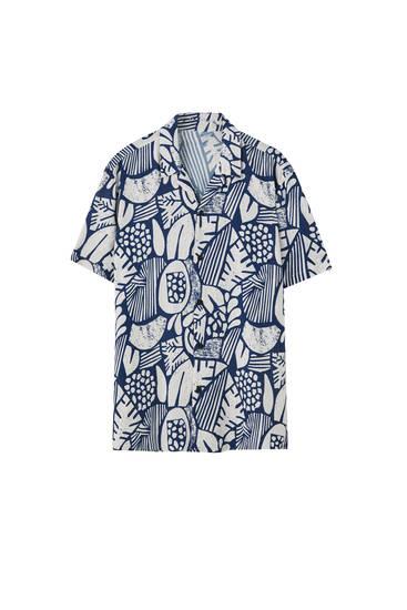 Viscose contrast print shirt