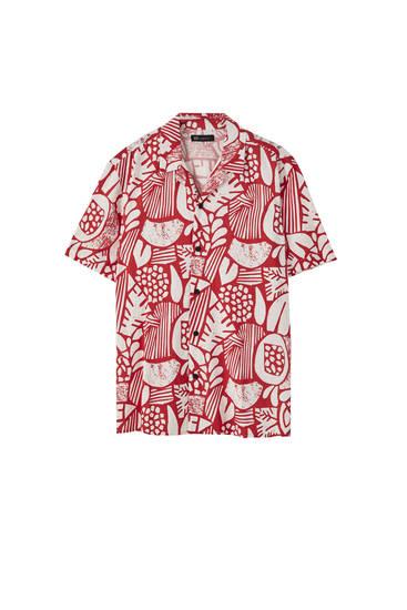 Viscose overhemd met contrasterende print
