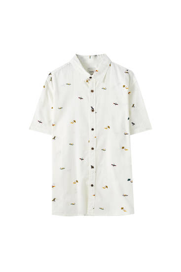 White shirt with surf print