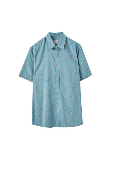 Blue shirt with bird print