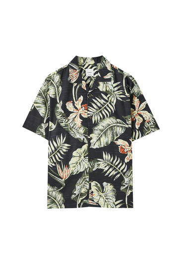 Black shirt with a leaf and flower print