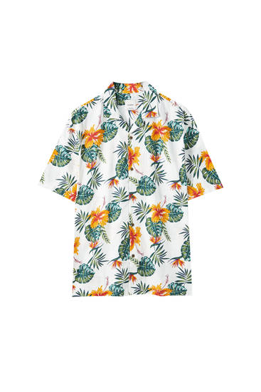 Orange flower print shirt