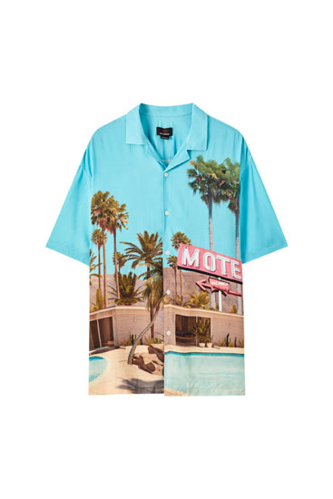 Turquoise shirt with motel print