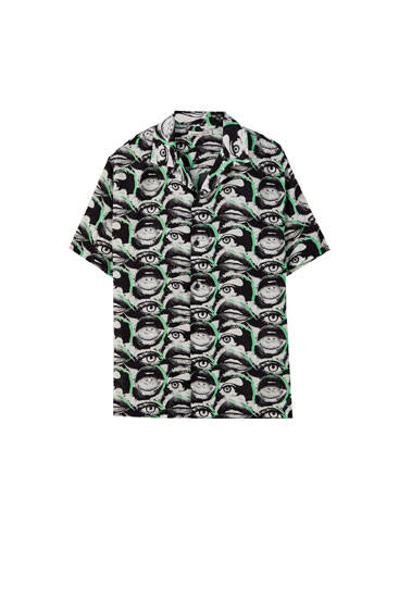 Mouth and eye print shirt