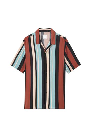 Turquoise stripe print shirt