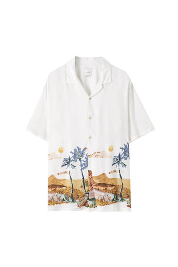White shirt with oasis print