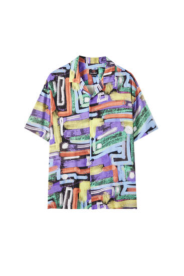 Multicoloured geometric print shirt