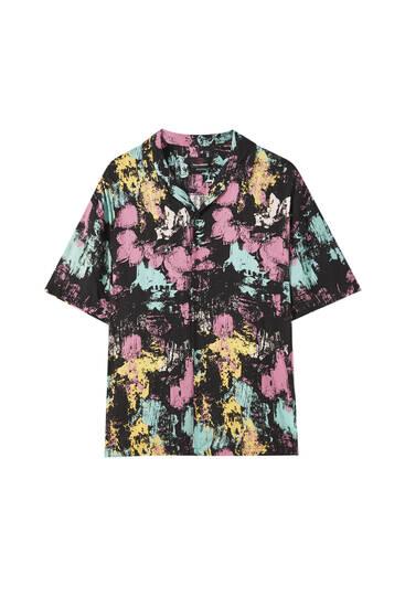 Overhemd met verfprint van bloemen