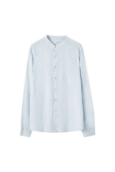 Long sleeve linen shirt with stand-up collar