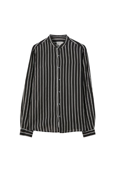 Long sleeve striped linen shirt