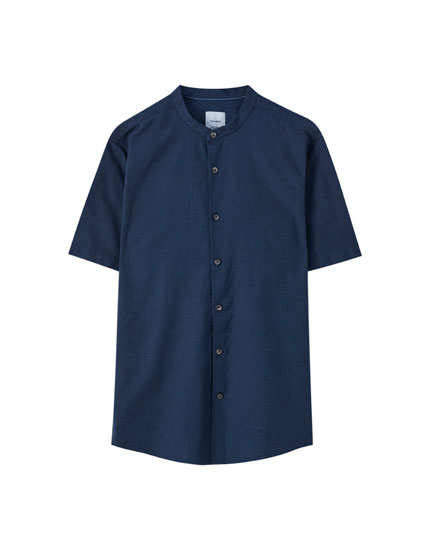 Linen blend stand-up collar shirt