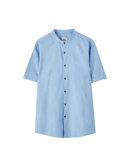 Linen blend stand-up collar shirt