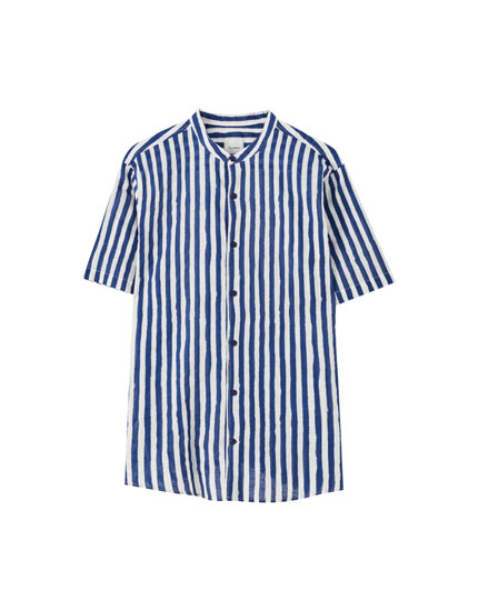 Basic striped shirt with a stand-up collar