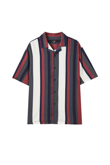 Maroon striped print shirt