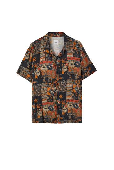 Grijze blouse met print van jaren '90