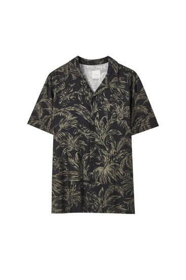 Black branch print shirt