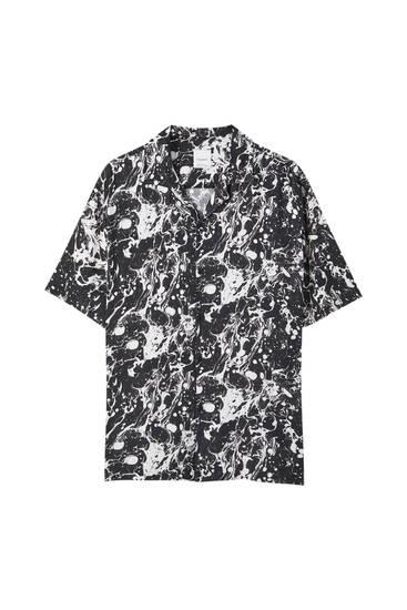 Black shirt with a white print