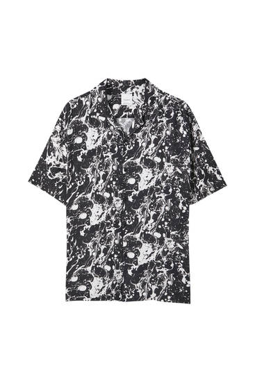 Black shirt with a white print