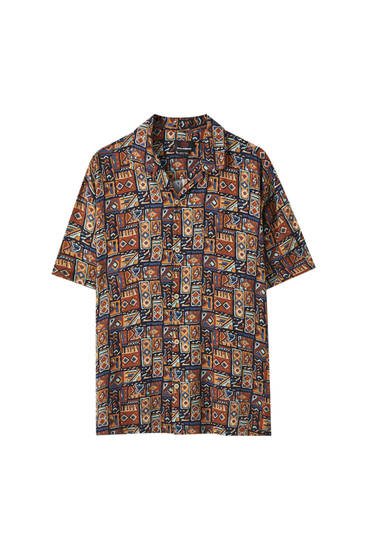 Camisa estampado geométrico oscuro