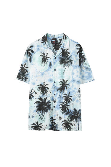 Tie-dye shirt with a palm tree print