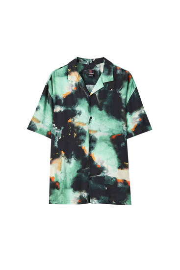 Turquoise overhemd met tie-dye print