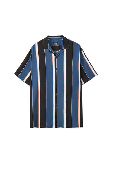 Blue vertical stripe shirt
