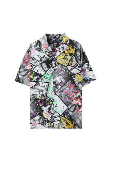 Black shirt with multicoloured graffiti